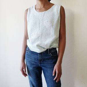 80's Blue Floral Sleeveless Knit Shell Top